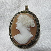 Old Cameo Brooch Pendant With Marcasites