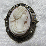 Old Unusual Carved Cameo Brooch Pin Fine Jewelry