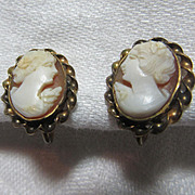 Gold Filled  Cameo Earrings