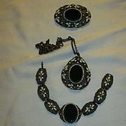 Old Parure Necklace Brooch Bracelet Black & Enamel