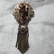 10K Rose Gold & Enamel Victorian Brooch Watch Pin