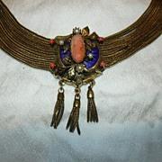 Fabulous Victorian Coral Cameo & Enamel Slide Necklace