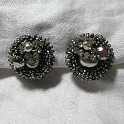 Miriam Haskell Rhinestone Seed Bead & Faux Pearl Earrings