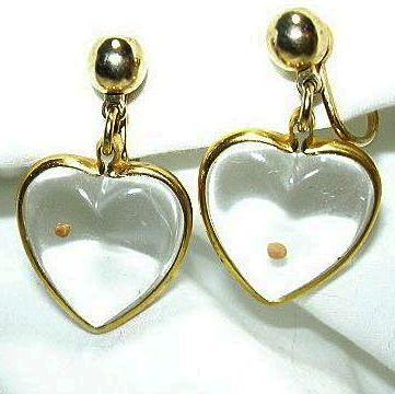 Glass Heart Mustard Seed Earrings