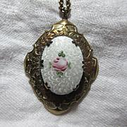 Old White & Pink Rose Enamel Locket On Chain