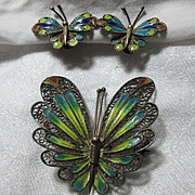 Enamel On 800 Silver Filigree Butterfly PIn & Earring Set Demi Parure