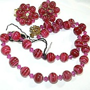 SOLD Hobe Signed PInk Red Glass Beads Necklace & Clip Earrings