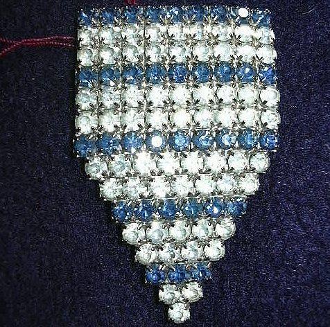 Old Rhinestone & Sapphire Blue Rhinestone Dress clip