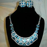 Kramer NY Turquoise Rhinestone Necklace Earring Set Demi Parure