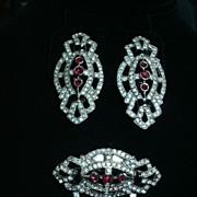 SOLD Faux Pave Diamond Clip Earring & Clip Set