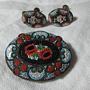 Italian Mosaic Brooch  Earring Set