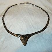 Old Monet Silver Tone Metal Deco Necklace
