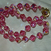 Pink Crystals Beads Necklace & Clip Earring Set