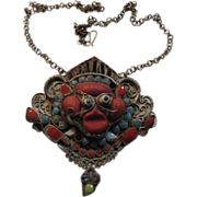 Buddhist or Hindu Old Necklace With Deity Face