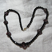 Black Facet Glass Beads & Unusual Hot Pink Crystals Accents Fine Vintage Costume Necklace Jewe