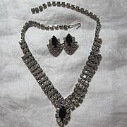 Rhinestone & Black Necklace Earring Set