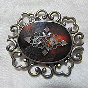 Fine Mexican Sterling PGG  Abalone Inlay Brooch