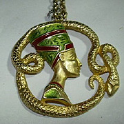 Snake & Egyptian Style Head Pendant Necklace