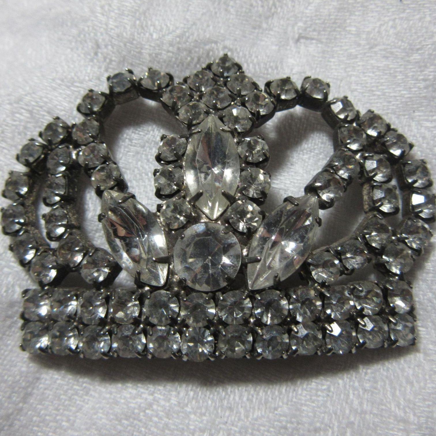 Rhinestone Crown Brooch Pin