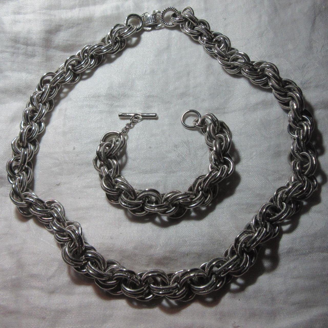 Coro Silver Tone Metal Necklace Bracelet Set