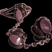 Native American Sterling Silver MOP Slave Bracelet