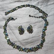 Trifari Parure Necklace Earrings Bracelet Yellow Blue Rhinestones