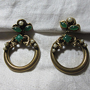 Large Vintage Clip Earrings Circles With Faux Pearls