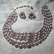 Lilac Faux Pearls Beads Necklace & Clip Earring Set Demi Parure