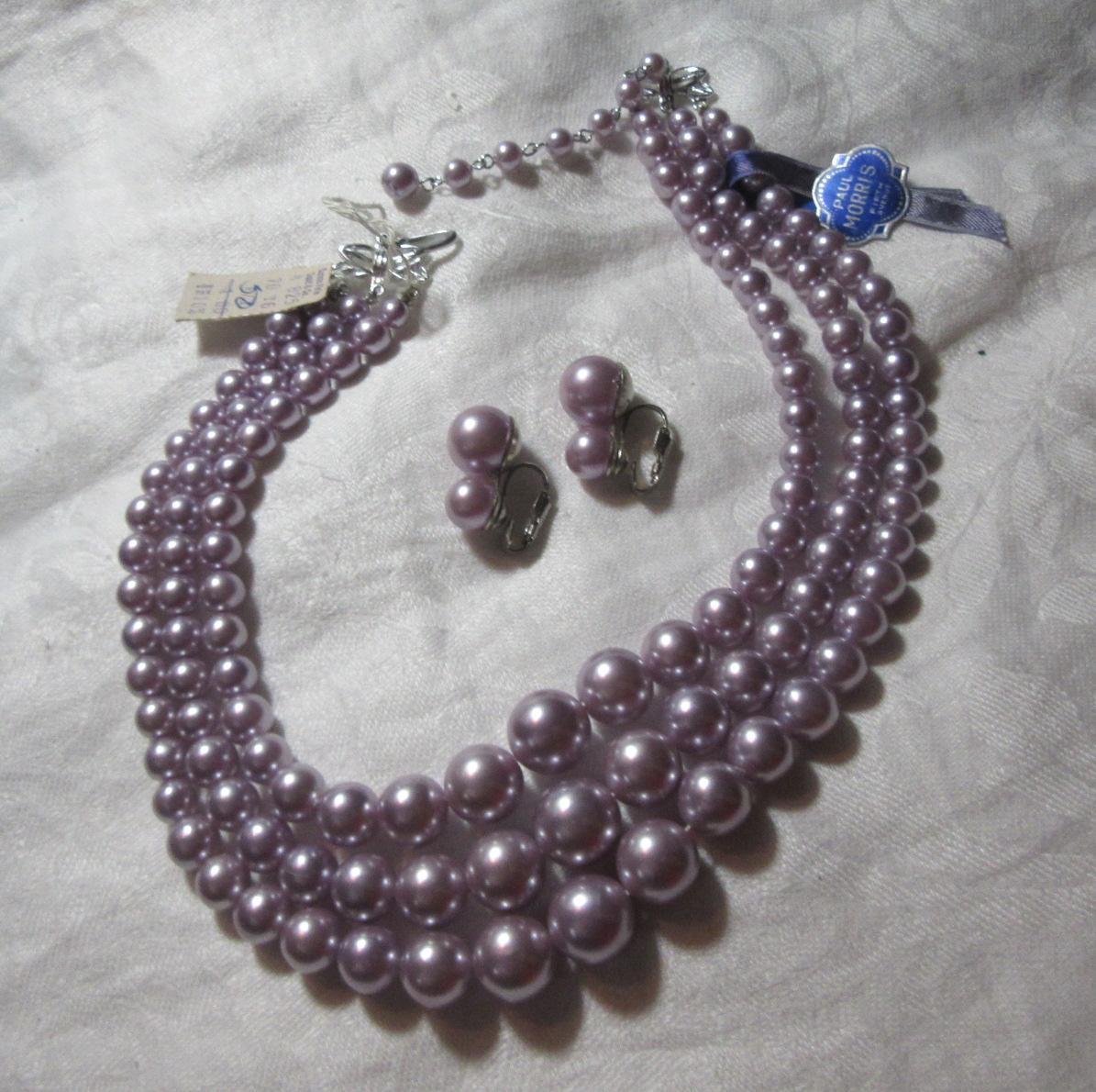Violet Faux Pearls Beads Necklace Clip Earring Set Demi Parure