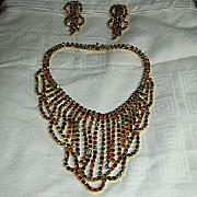 Multicolor Rhinestone Necklace & Clip Earring Set Demi Parure Wow