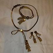 Old Monet Parure Gold Tone Tassel Necklace Bracelet Earring Set