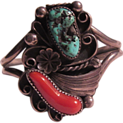 Native American Navajo Silver Turquoise & Coral Bracelet Artist Signed