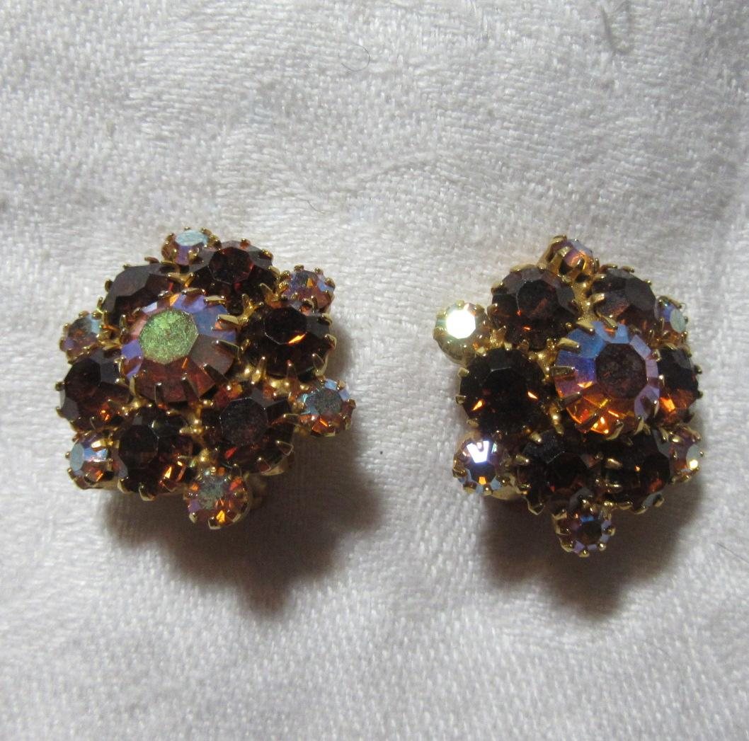 Topaz Colored Rhinestone Clip Earrings