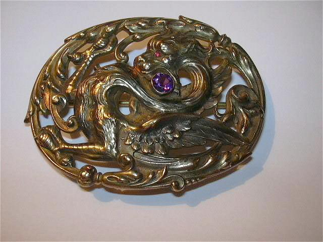 Dragon Mythical Beast Belt Sash Brooch Early 1900's Fine Antique Jewelry