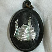 Antique English Horn Locket Mother Of Pearl Church Inlay Hair Souvenir Fine Mourning Religious