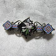 Rare Micro-Mosaic & Mosaic Bar PIn Bird Motif Fine Antique Jewelry
