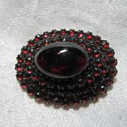 Vintage Garnets Brooch Large Cabochon Fine Jewelry