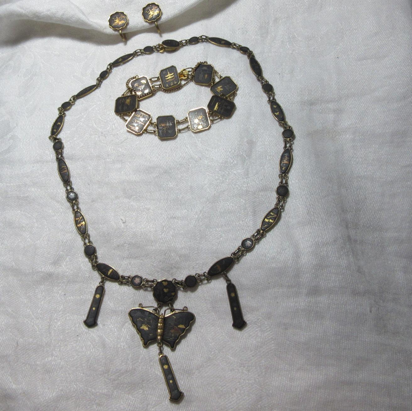 Oriental 24K Inlay Costume 3 Pc Set  Parure Butterfly Pendant