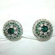 Art Rhinestone & Emerald Green Stones Clip Earrings