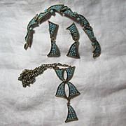 Hollycraft Turquoise Blue Necklace Bracelet Earrings Parure Vintage Jewelry Set