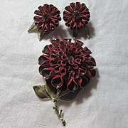 SALE PENDING Coro Red Flower Pin Earring Set Signed Vintage Costume Jewelry