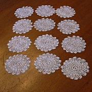 Set 12 Vintage Linen Lace Small Rounds Coasters Doilies