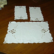Set 3 Old Pure Linen Table Mats Or Chair Set With Embroidery