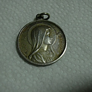 Old French Immaculate Mary & Jesus Sacred Heart Large Medal