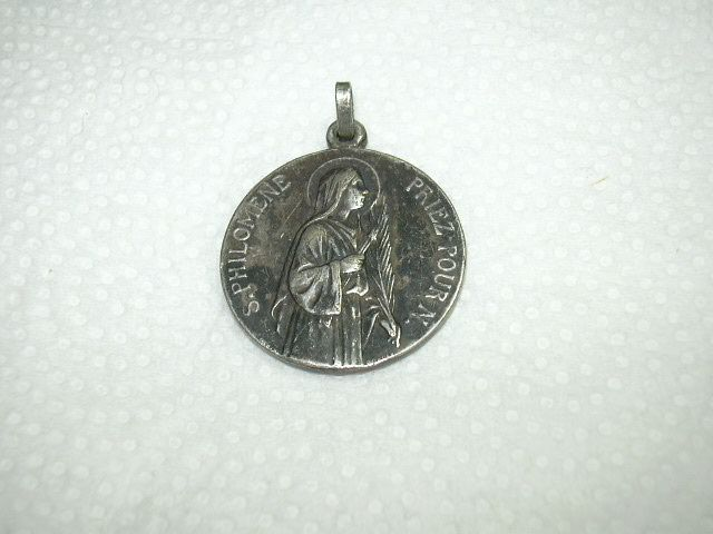 Old St Philomena Large French Medal Signed Penin Poncet