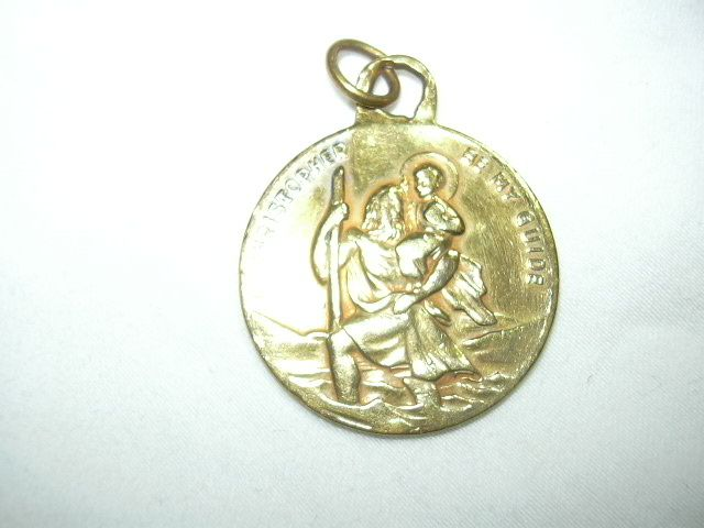 Gold Metal St Christopher Large Medal