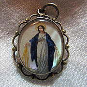 Old French Medal MOP Hand Painted Virgin Mary Notre Dame De Bon Secours