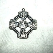 Old Sterling Silver  Catholic Five Way Medal