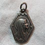 Virgin Mary Our Lady Lourdes Art Deco Medal