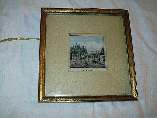 Old Hand Tinted Miniature Landscape Das Steinthor Fine Art